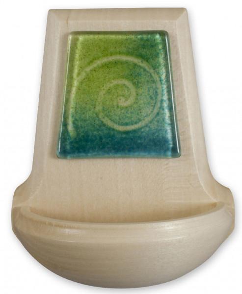 Weihbecken Holz, Glasauflage grün/blau 70/107
