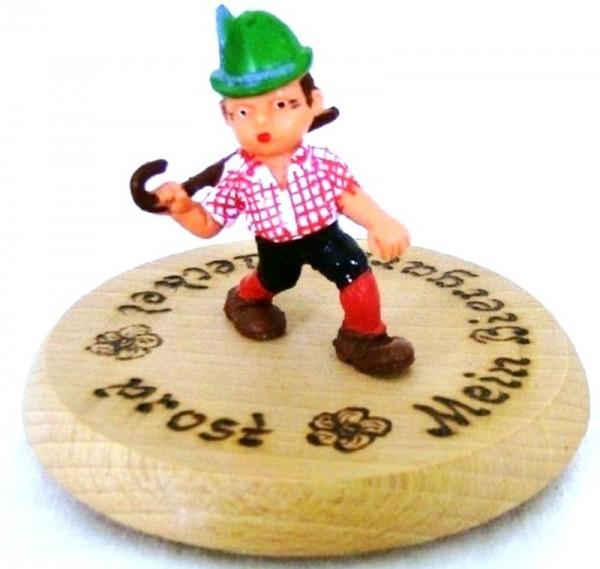 Bierdeckel Holz mit Spruch und Figur Wanderer Plastik