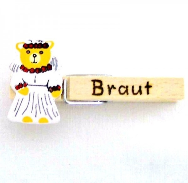 Holzklammer mit Applikation Braut Bär aus Holz