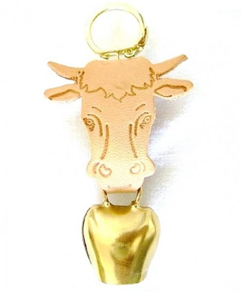 Schlüsselanhänger mit Kuhglöckchen und Kuhkopf Leder