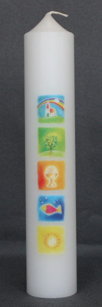 Kommunionkerze, Kerze mit Druckmotiv Symbole
