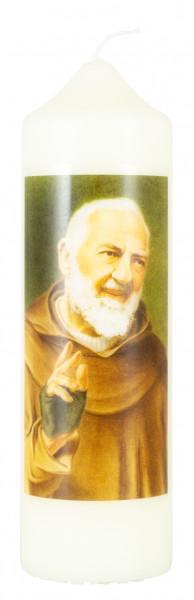 Motivkerze Pater Pio, Eierschale 16,5x5cm