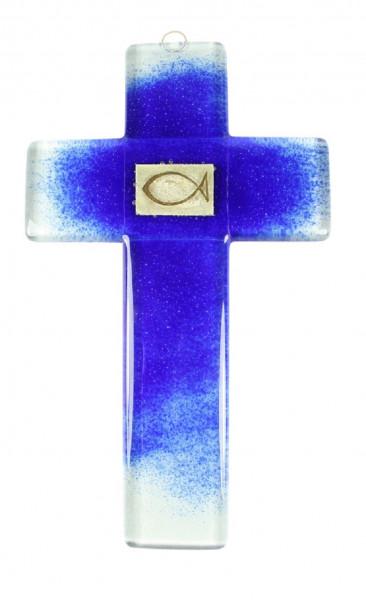 Glaskreuz blau Fisch-Goldblatt Einl. Kreuz 20x12cm