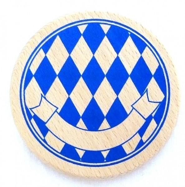 Bayerischer Bierdeckel Holz mit Rauten und Namensband