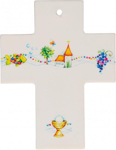 Kreuz aus Porzellan - Gott segne dich