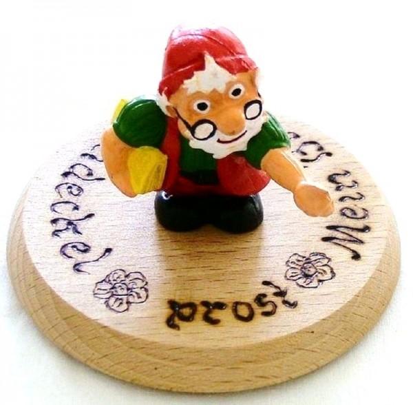Bierdeckel aus Holz mit Spruch und Zwerg Lehrer Plastik