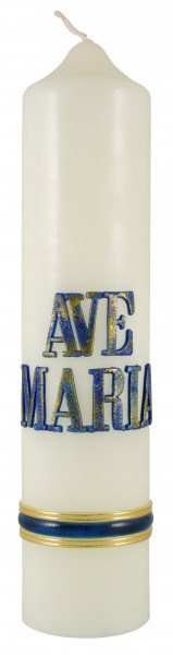 Marienkerze Schrift Ave Maria blau Kerze-Eierschale