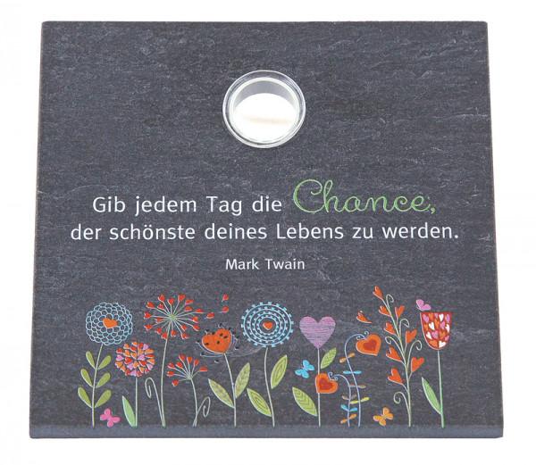 Schiefertafel m. Glasvase, bedruckt - Gib jedem Tag