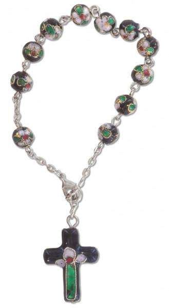 10er-Rosenkranz gekettelt - Cloisonné-Perlen schwarz