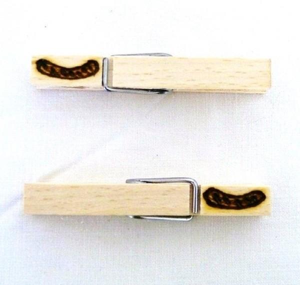 Holzklammer mit Motiv Bratwurst, beidseitig