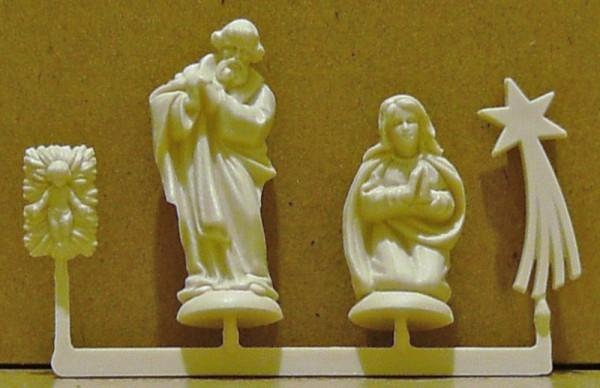 Mini-Krippenfiguren Hl. Familie und Komet, aus Plastik