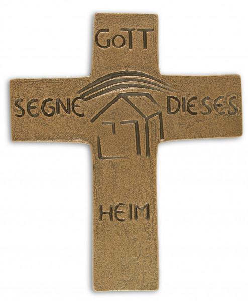 Kreuz aus Bronze - Haussegen, Gott segne dieses..