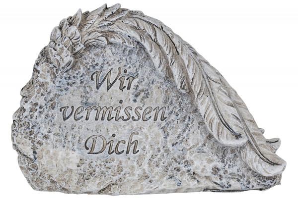 Stein mit Flügel Wir vermissen Dich 13,5x4x9, 83/88