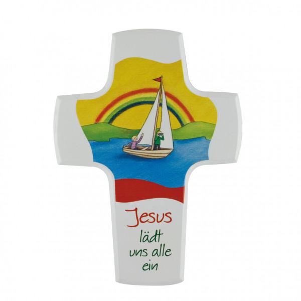 Kinderholzkreuz - Kreuz Motiv Jesus lädt uns alle ein