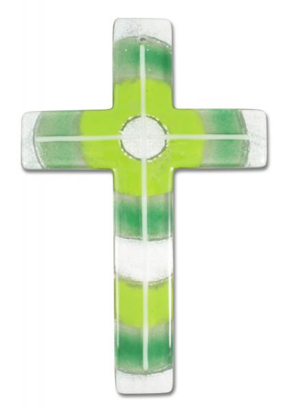 Glaskreuz handgearbeitet grün/weiß 20x13x0,5cm