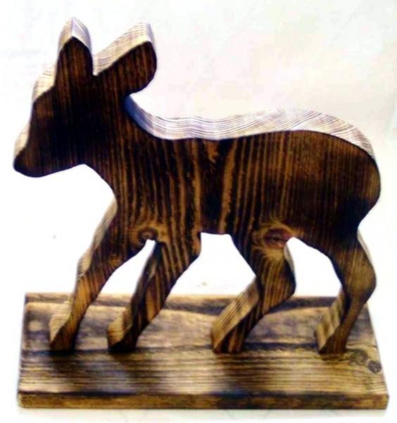 Dekofigur Bambi Wohnraumdeko aus Holz im Landhausstil