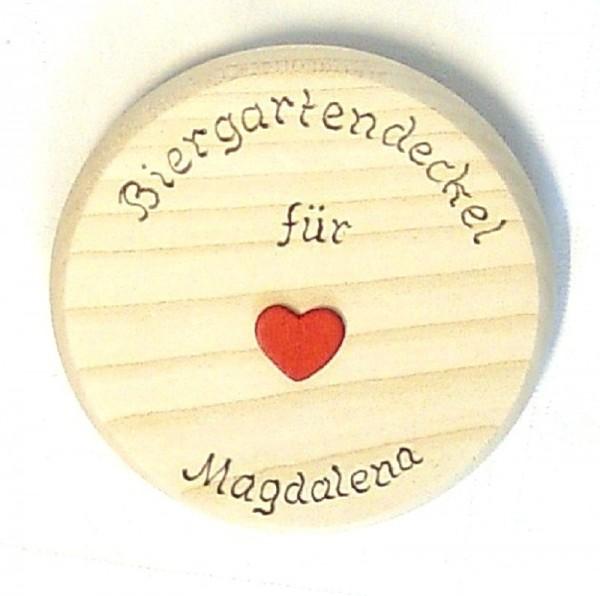 Bierdeckel Holz Brandmalerei Wunschname u. Holzherz rot