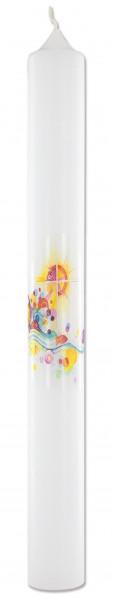 Taufkerze mit Druckmotiv Kreuz und Sonne, Kerze