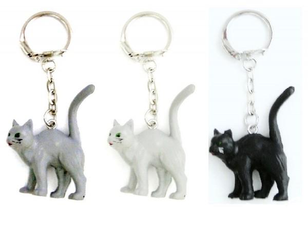 Schlüsselanhänger mit Katze stehend aus Plastik