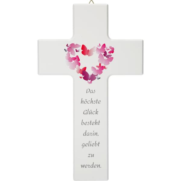 Kinderkreuz Holz, weiß, Motiv Das höchste Glück....
