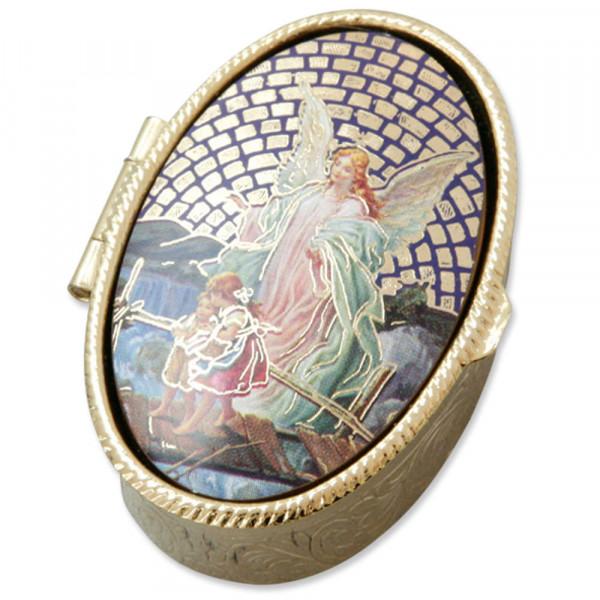Metalletui goldfarben, oval Schutzengel mit Kinder
