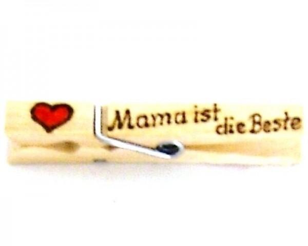 Holzklammer mit Herz und Spruch Mama ist die beste, einseitig
