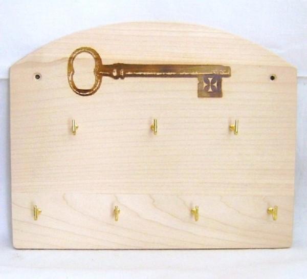 Schlüsselbrett mit 7 Haken Schlüsselleiste Holz, Landhausdeko