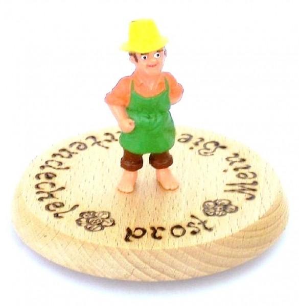 Bierdeckel aus Holz mit Spruch u. Figur Gärtner Plastik