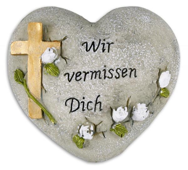 Herz mit Kreuz Wir vermissen Dich 12x8,5cm, 83/79