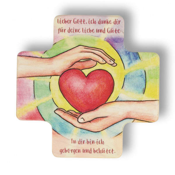 Kinderkreuz Holz - Motiv Herz Lieber Gott 8x8cm