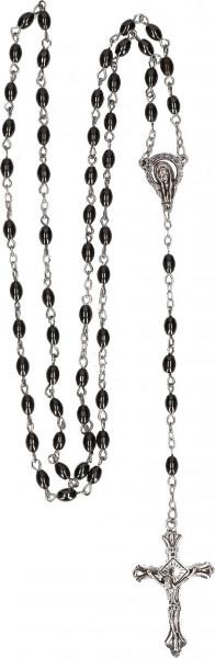 Rosenkranz gekettelt - ovale Hämatit-Perlen m. Kreuz
