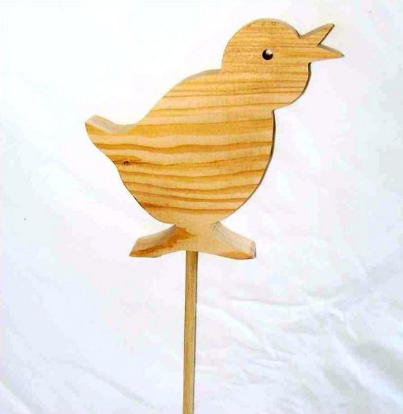 Deko-Stecker Vogel 12,5cm x 13cm aus Lärchenholz, natur