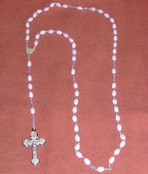 Rosenkranz gekettelt, weiss 48cm lang, Devotionalien,