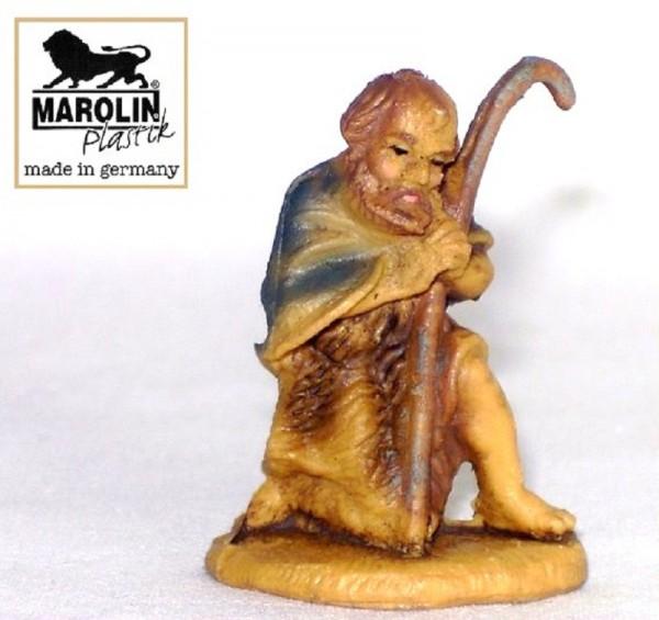 Hirt, Schäfer kniend Kunstoff Krippenfigur 7cm Marolin Plastik