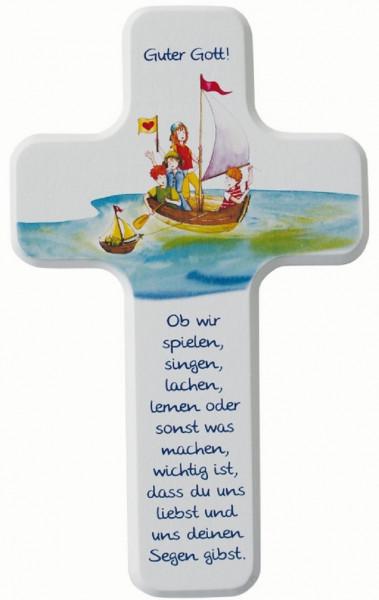 Kinderholzkreuz - Kreuz Motiv spielen-singen-lachen