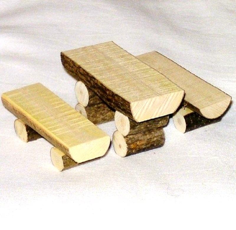 miniatur garnitur naturstamm aus holz krippenzubeh r. Black Bedroom Furniture Sets. Home Design Ideas