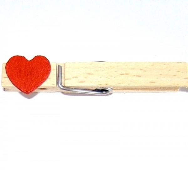 Holzklammer mit Applikation Holzherz 1,5cm rot