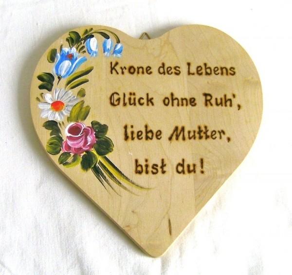 Holzherz 18x18cm Blumen Bauernmalerei u. Brandmalerei Spruch 04