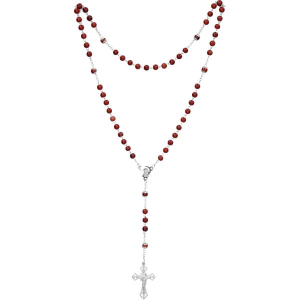Rosenkranz lang - Jaspis rot, gekettelt