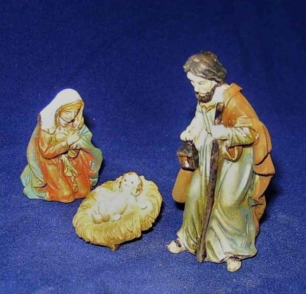 Heilige Familie 3,5cm Steinharz, 3-teiliges Set, bemalt
