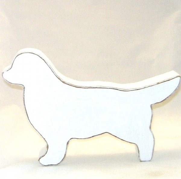 Dekofigur Sennenhund MDF-Holz weiß im Shabby Chic Stil