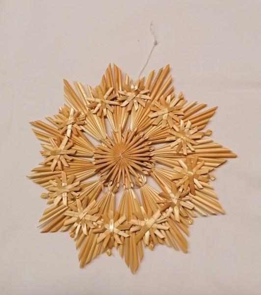 Strohstern 23cm Stern mit Naturfaden, Stroh Baumschmuck