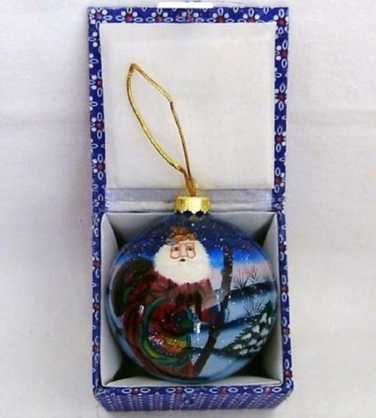 Glaskugel mit Box innen bemalt Weihnachtsmann rot