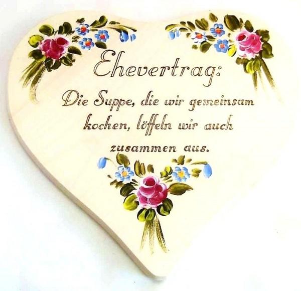 Herz, Ehevertrag aus Holz mit Blumen in Bauernmalerei