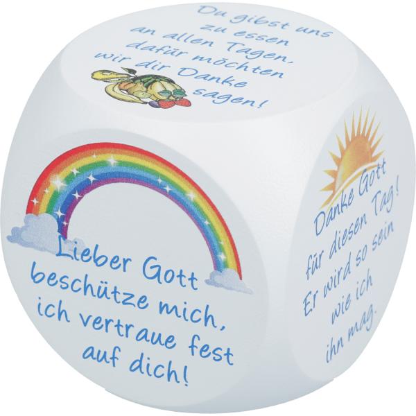 Gebetswürfel Ahornholz, versch. Farben bedruckt