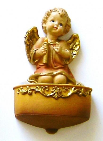 Weihwasserkessel aus Steinharz, Engel mit Kerze