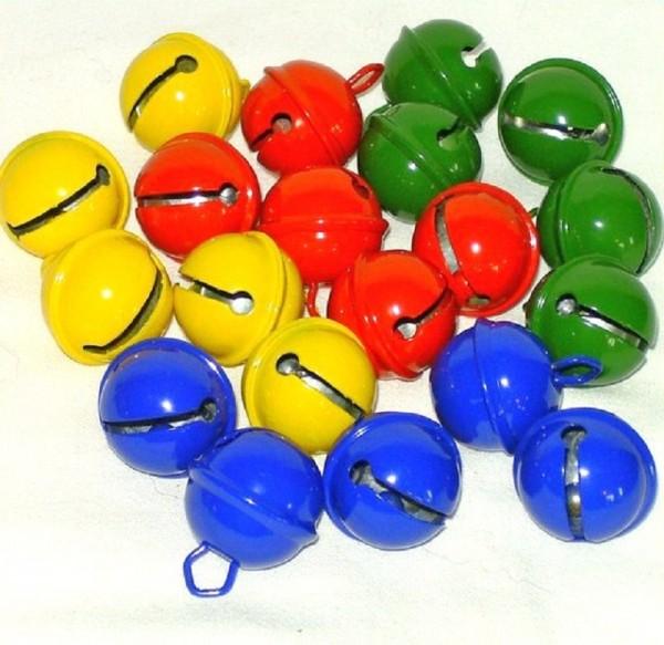 20 St. Kugelschellen Glocken kleine Glöckchen farbig sort.19mm