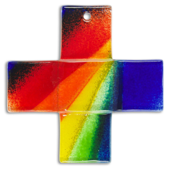 Glaskreuz Regenbogen, blau, 12 x 12cm