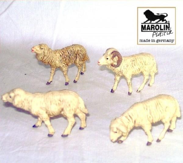 Schafgruppe 4-tlg. Kungstoff Krippenfigur 9cm Marolin Plastik