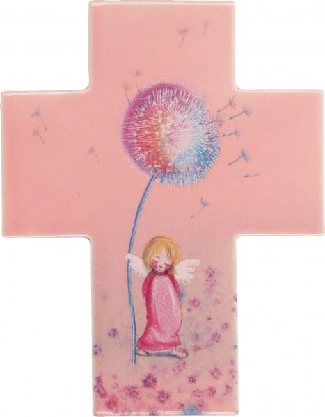 Kreuz aus Porzellan mit rosa Engel